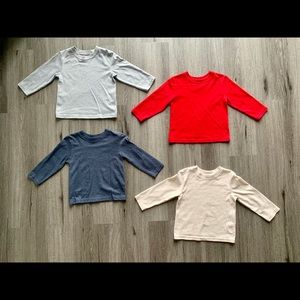 Lot of 4 solid color long sleeve shirts size 2T